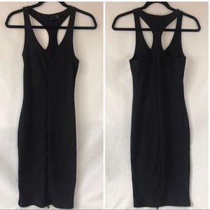 *TRF by ZARA* Black Ribbed Zip Front Tank Dress